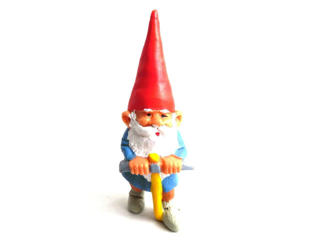 UpperDutch:,1 (ONE) Gnome figurine with Pickaxe, Gnome after a design by Rien Poortvliet, Brb Gnome, David the Gnome.