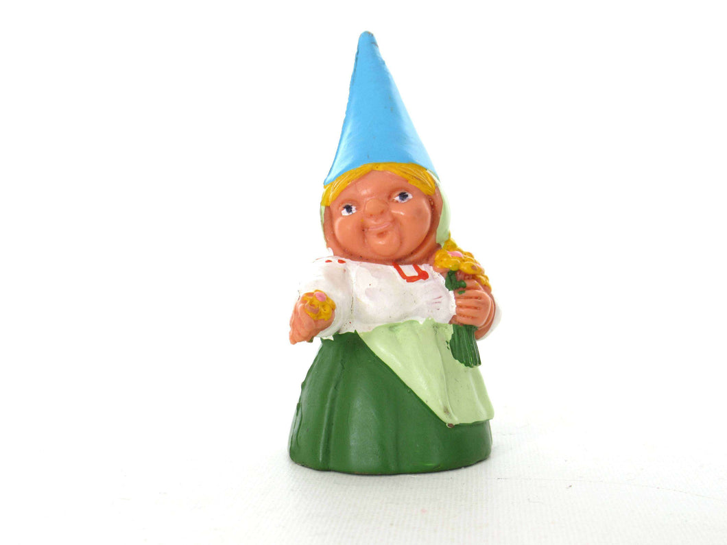 UpperDutch:Gnome,1 (ONE) Gnome with flowers figurine in green dress, Gnome after a design by Rien Poortvliet, Brb Gnome.