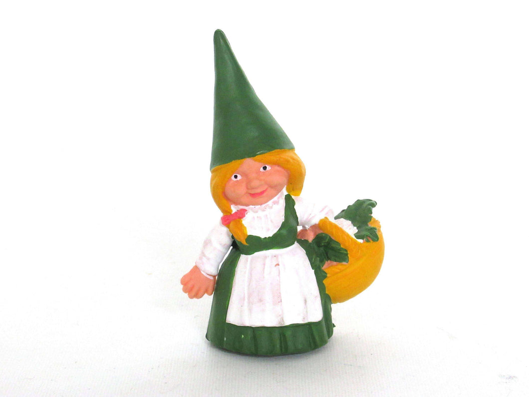 UpperDutch:,1 (ONE) Green dress Gnome figurine with Basket, Gnome after a design by Rien Poortvliet, Brb Gnome, Lisa the Gnome.