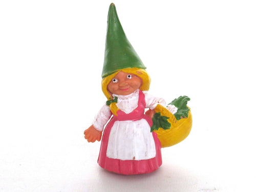 UpperDutch:Gnome,1 (ONE) Pink dress Gnome figurine with Basket, Gnome after a design by Rien Poortvliet, Brb Gnome, Lisa the Gnome.