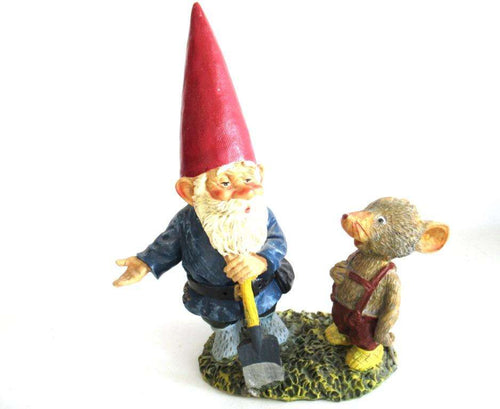 UpperDutch:Gnome,10 INCH Rien Poortvliet Gnome figurine, Gnome after a design by Rien Poortvliet, David the gnome, Al with Mouse, Klaus Wickl.