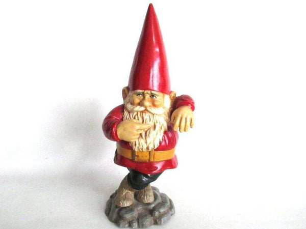 UpperDutch:Gnome,11 INCH red Rien Poortvliet pointing Gnome figurine, Lean leaning, David the gnome, Klaus Wickl.