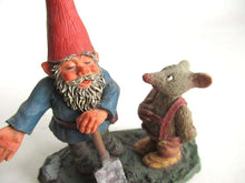 UpperDutch:,'Al with Mouse' Gnome with shovel and mouse figurine. Part of the 2001 Classic Gnomes series designed by Rien Poortvliet