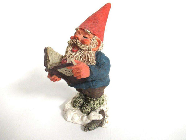 UpperDutch:Gnome,'Arthur' Reading, singing Gnome figurine. Classic gnomes, Designed by Rien Poortvliet.