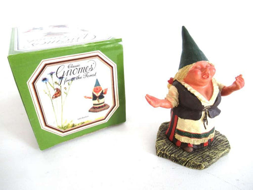UpperDutch:Gnome,'Barbara' Singing gnome figurine after a design by Rien Poortvliet. Part of the Classic Gnomes series designed by Rien Poortvliet