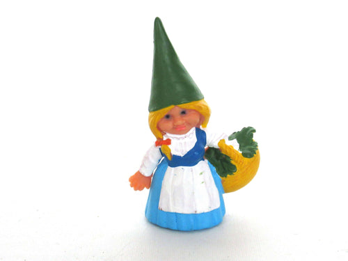 UpperDutch:Gnome,Blue dress Gnome figurine with foraging Basket, Gnome after a design by Rien Poortvliet, Brb Gnome, Lisa the Gnome.