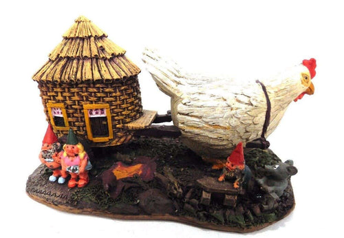 UpperDutch:Gnome,Classic Gnomes Villages series: 'The Sunshine Family' Gnome family with chicken camper figurine. Designed by Rien Poortvliet