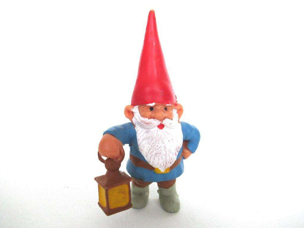 UpperDutch:Gnome,David the Gnome figurine after a design by Rien Poortvliet, Brb collectible pocket gnome gus holding a lantern,mini garden gnome.