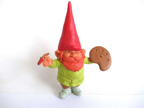UpperDutch:Gnome,David the Gnome figurine after a design by Rien Poortvliet, Painting gnome, Collectible pocket gnome, mini garden gnome.