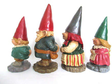 UpperDutch:Gnome,Gnome family, Original Rien Poortvliet gnome figurines. David the gnome statues, rare complete set of gnome parents and kids.