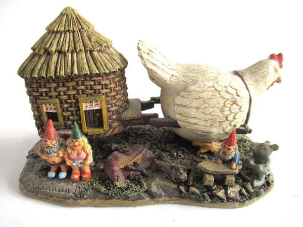UpperDutch:Gnome,Gnome family with chicken camper figurine. 'The Sunshine Family'  Part of the 2000 Classic Gnomes Villages series designed by Rien Poortvliet