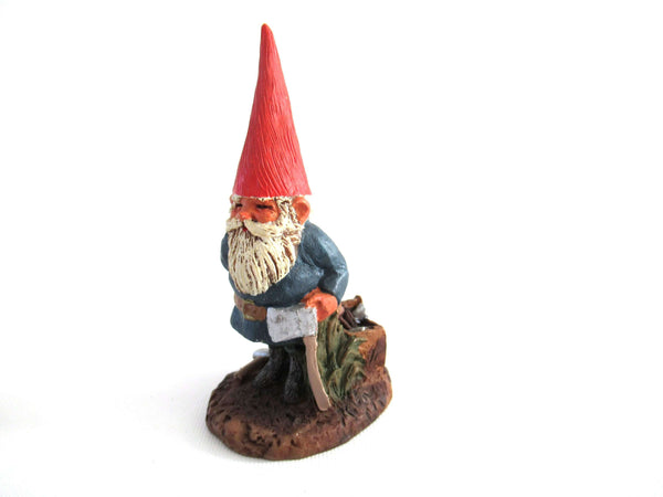 UpperDutch:Gnome,Gnome figurine, Al-Joe, Klaus Wickl 1993, Enesco, Rien Poortvliet, Miniature collectible gnomes, gnome with ax.
