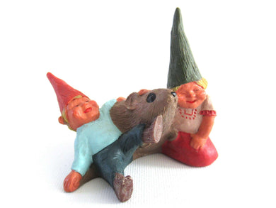 UpperDutch:Gnome,Gnome figurine, Daniel and Dede, Klaus Wickl 1993, Enesco, Rien Poortvliet, Miniature collectible gnomes, Gnomes with mouse.