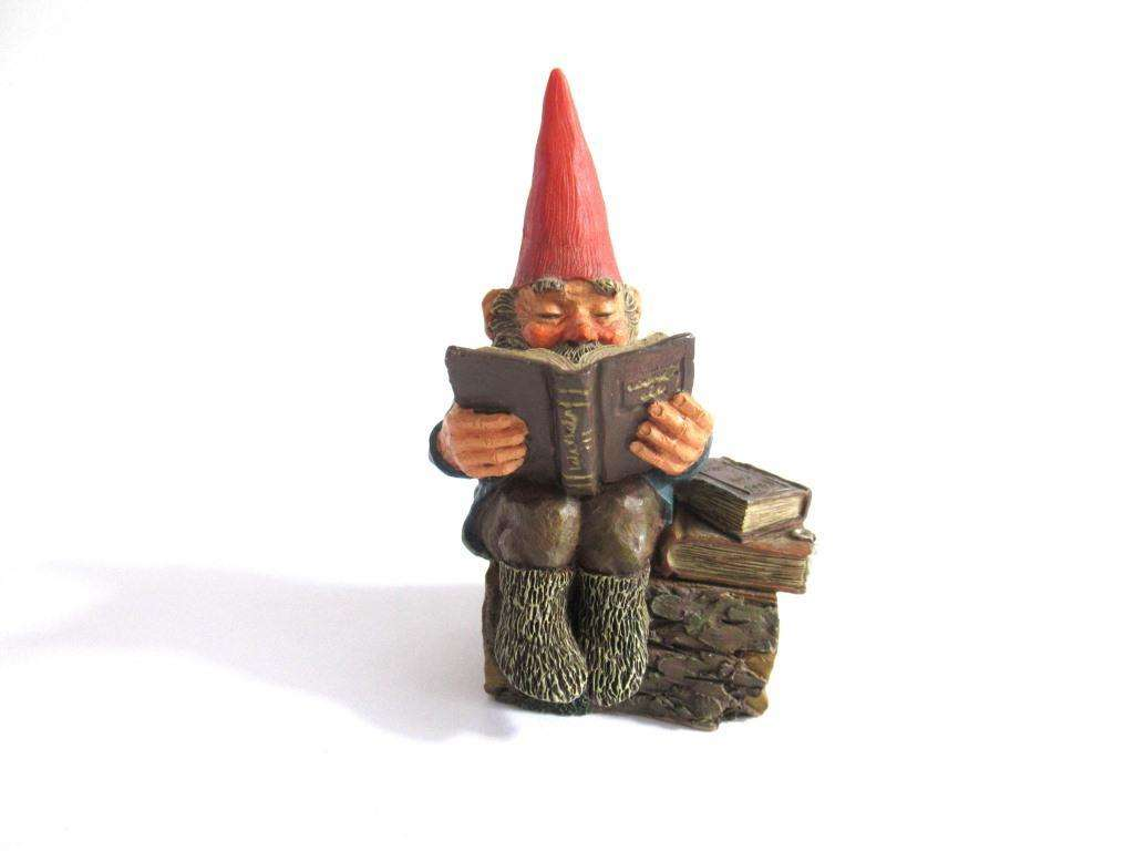 UpperDutch:Gnome,Gnome figurine 'Gideon' Reading. Classic gnomes series by AAAAAAA International Co. Ltd. Designed by Rien Poortvliet.