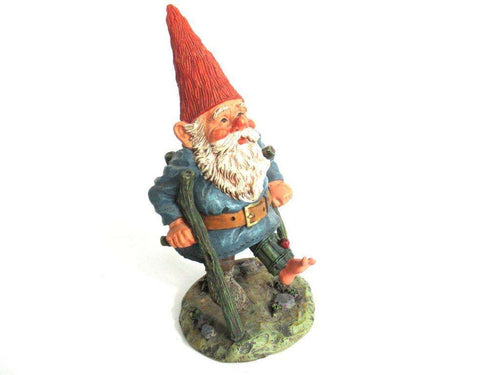 UpperDutch:Gnome,Gnome figurine 'Henry' Gnome with crutches, designed by Rien Poortvliet, Classic Gnomes serie 2000