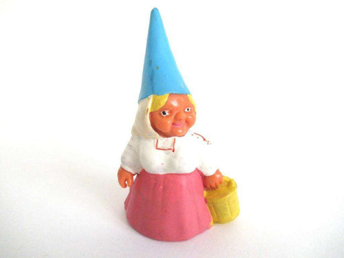 UpperDutch:Gnome,Gnome figurine in pink dress, Gnome after a design by Rien Poortvliet, Brb Gnome, Lisa the Gnome carrying a bucket.