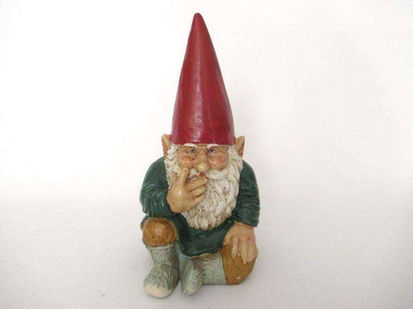 UpperDutch:Gnome,Gnome figurine, Sitting Gnome after a design by Rien Poortvliet, David the Gnome, Garden Gnome.