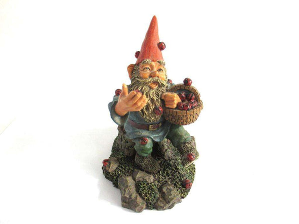 UpperDutch:Gnome,Gnome 'Lucky' with Ladybugs figurine after a design by Rien Poortvliet Gnome with ladybugs. Classic gnomes