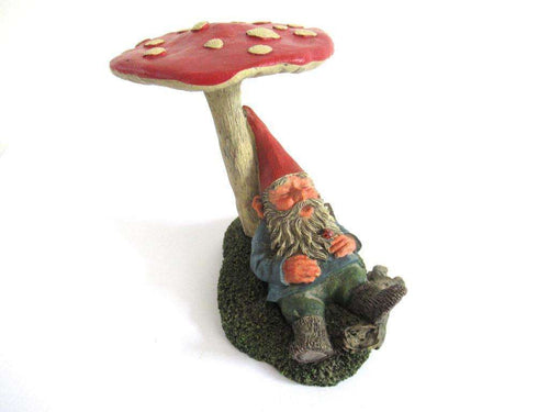 UpperDutch:Gnome,Gnome sleeping under a mushroom 'Slumber Chief' a design by Rien Poortvliet. Dutch Classic gnomes series. AAAAAAA International Co. Ltd.