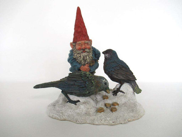 UpperDutch:Gnome,Gnome Statue 'Thomas & Birds' Classic Gnomes figurine. David the gnome feeding birds in the snow. Designed by Rien Poortvliet.