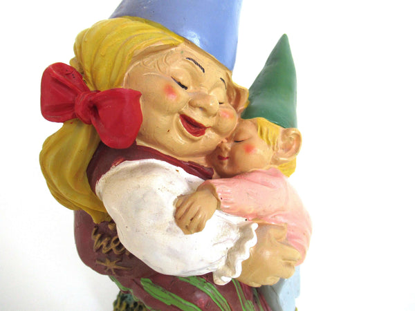 UpperDutch:Gnome,Gnome Statue with Child 8 INCH Gnome after a design by Rien Poortvliet, Gnomy.