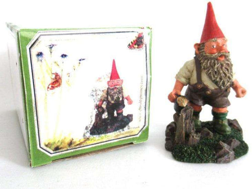 UpperDutch:Gnome,'Hansli' Gnome drinking beer figurine in original box after a design by Rien Poortvliet. Classic Gnomes