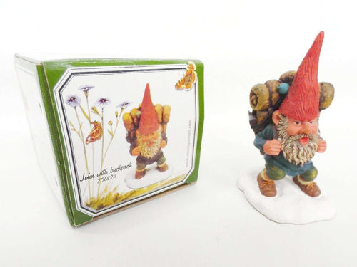 UpperDutch:Gnome,'John with backpack' Gnome figurine. Part of the 2001 Classic Gnomes series designed by Rien Poortvliet