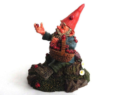 UpperDutch:Gnome,'Lucky' Gnome with Ladybugs figurine after a design by Rien Poortvliet Gnome with ladybugs. Classic gnomes