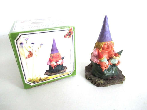 UpperDutch:Gnome,New born, Breastfeeding Gnome figurine after a design by Rien Poortvliet 'Catherine with baby's '. Twin gift