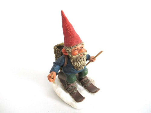 UpperDutch:Gnome,'Paul on Skites' Skiing Gnome figurine. Part of the 2001 Classic Gnomes series designed by Rien Poortvliet