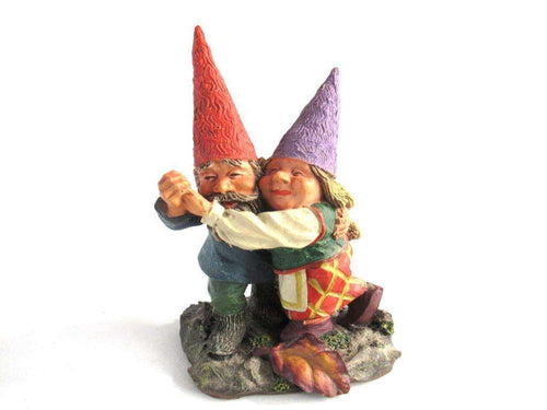 UpperDutch:Gnome,Rien Poortvliet gnome Dancing Gnome couple. Classic Gnomes 'Fryda and Fred Dancing'.