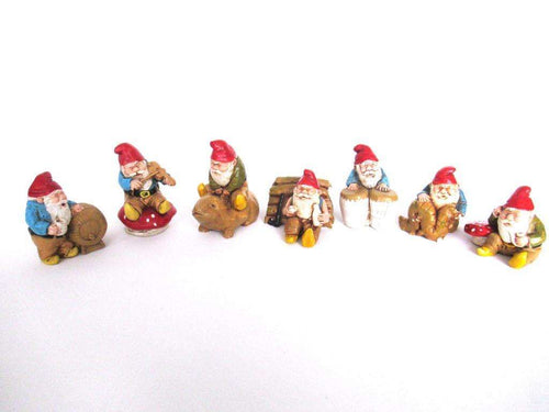 UpperDutch:Gnome,Set of 7 Vintage Gnomes - stoneware.