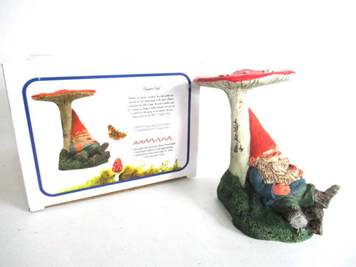 UpperDutch:Gnome,Slumber Chief Gnome Figurine in original box 1993 Rien Poortvliet, gnome under Mushroom.
