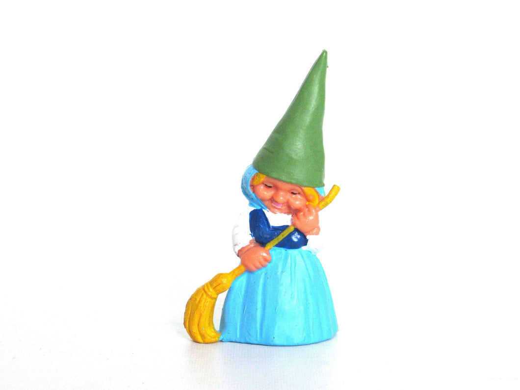 UpperDutch:,Sweeping Gnome figurine blue dress, Gnome after a design by Rien Poortvliet, Brb Gnome with broom, Lisa the Gnome.