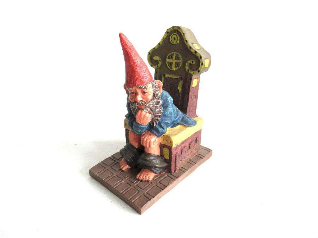 UpperDutch:,'Theodor' Gnome figurine after a design by Rien Poortvliet. Gnome on the toilet. Dutch Classic Gnomes series. AAAAAAA International Co. Ltd.