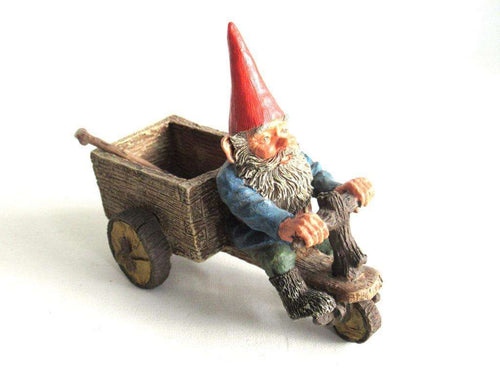 UpperDutch:Gnome,'Thomas' Gnome riding a cargo bike with shovel. Gnome figurine after a design by Rien Poortvliet. Classic Gnomes series. AAAAAAA International Co. Ltd.
