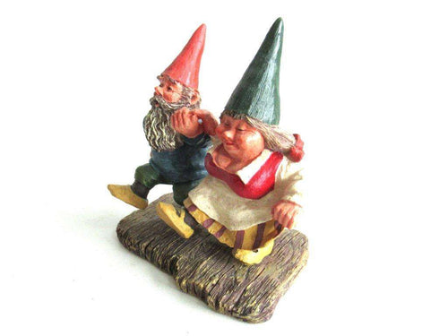 UpperDutch:Gnome,'What a Beautiful Day' Gnome figurine after a design by Rien Poortvliet. Dancing gnomes on wooden shoes. Dutch Classic Gnomes series. AAAAAAA International Co. Ltd.
