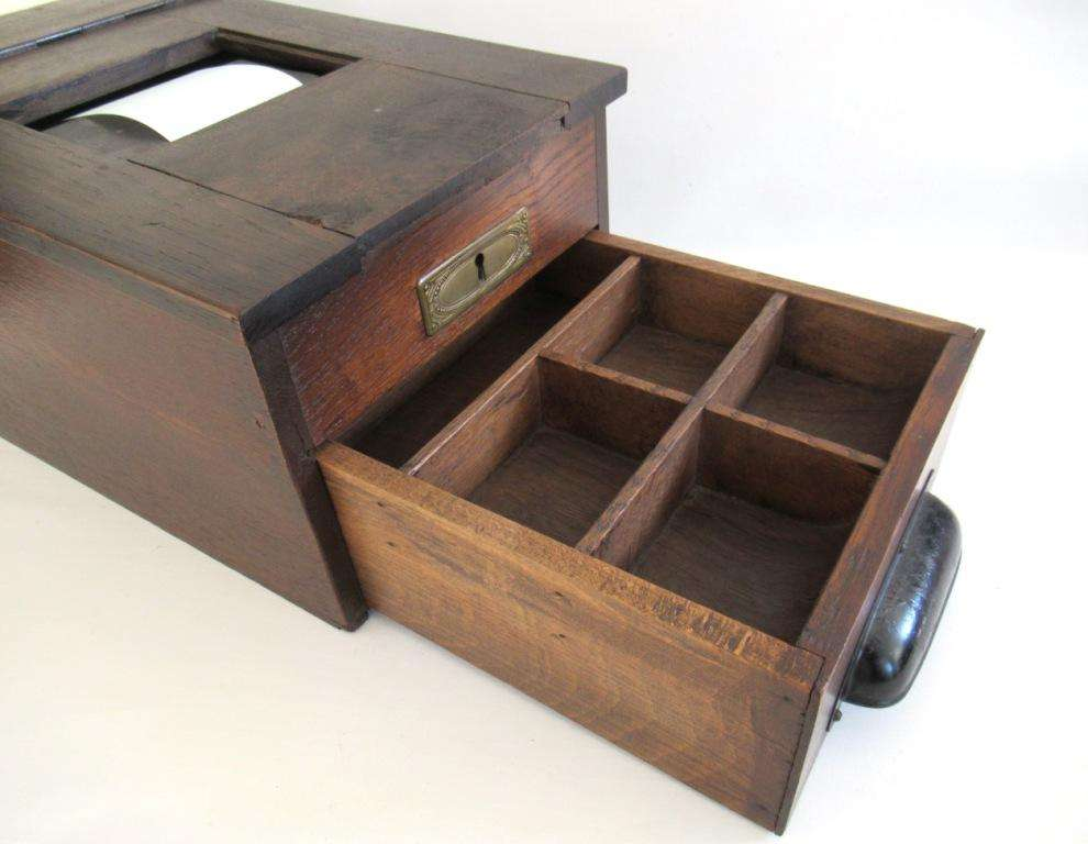Antique Cash Register Working Primitive Wooden Cash Register With