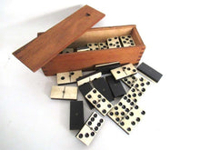 UpperDutch:Home and Decor,Antique Domino Set, Complete Set of 28 pieces Antique European dominoes, Ebony and Bone.