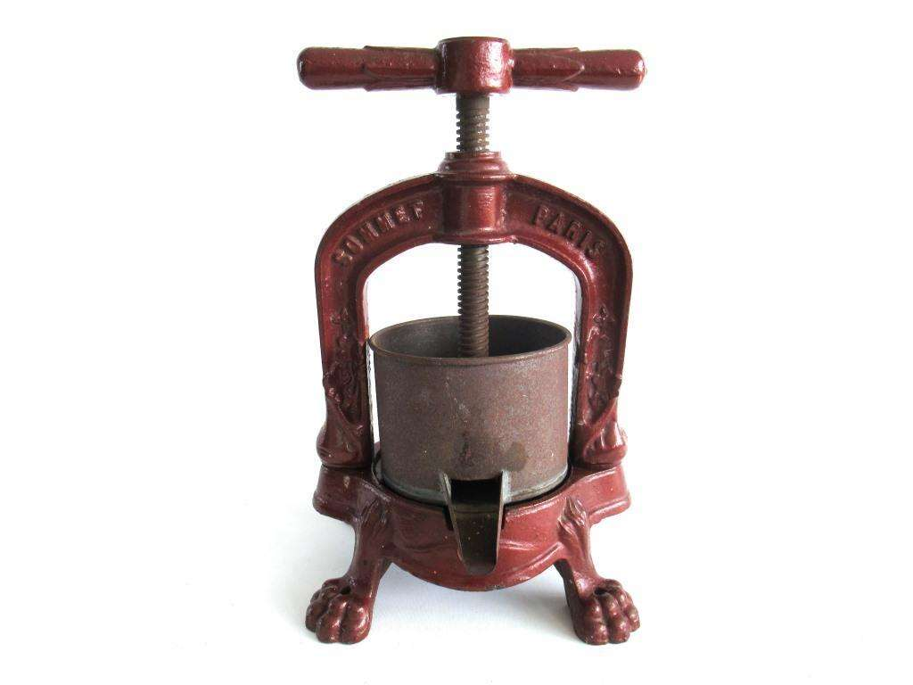 UpperDutch:Home and Decor,Antique French cast iron Oil Press, Cider, Apple, Grape, Sommet Paris, Red Kitchen decor