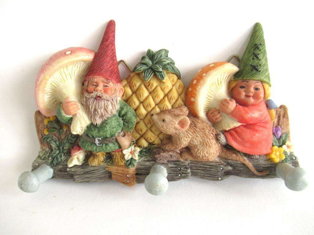 UpperDutch:Home and Decor,Vintage Gnome Coat Rack / Key holder. Children's room decor.