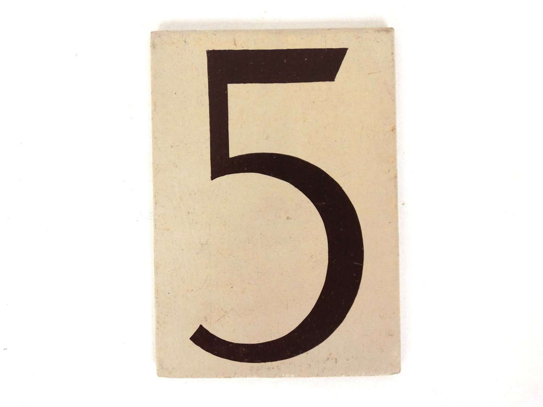 UpperDutch:Numbers,ONE Antique Five, wooden Number 5, Authentic Hand painted Number five. Room number / Table number, brown beige home number.