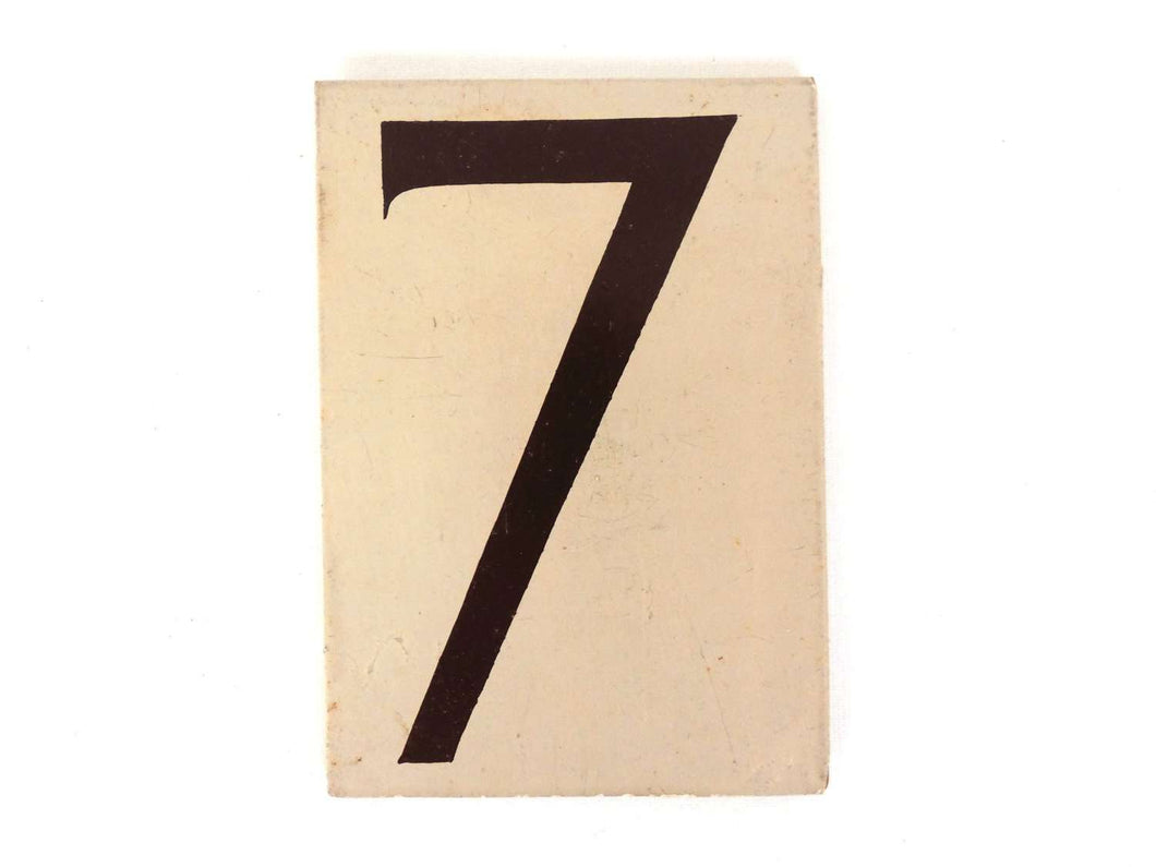 UpperDutch:Numbers,ONE Antique Seven, wooden Number 7, Authentic Hand painted Number seven. Room number / Table number, brown lucky number.