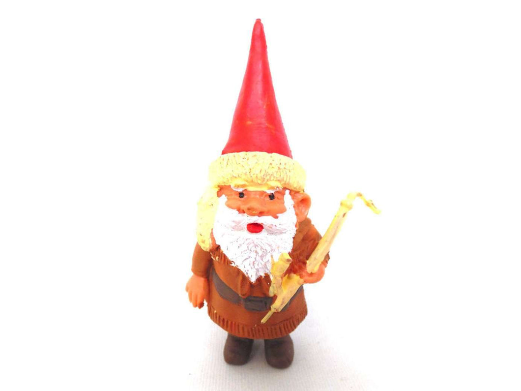 UpperDutch:Gnomes,ONE David the Gnome figurine after a design by Rien Poortvliet, Brb collectible pocket gnome smoking pipe ,mini garden gnome.