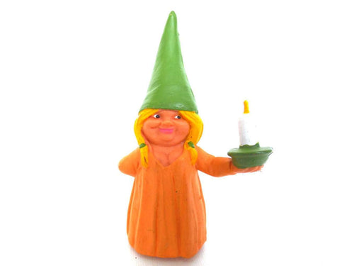 UpperDutch:Gnomes,1 (ONE) Gnome figurine, Gnome after a design by Rien Poortvliet, Brb Gnome holding candle, Lisa the Gnome.
