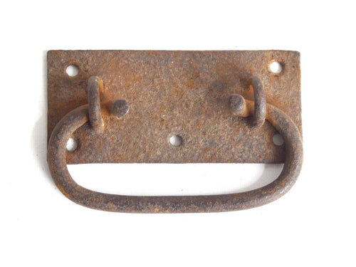 UpperDutch:Hooks and Hardware,Large Rusty Antique Chest Handle / Drawer Handle / drop pull. Rustic hardware, alternative drawer pull.