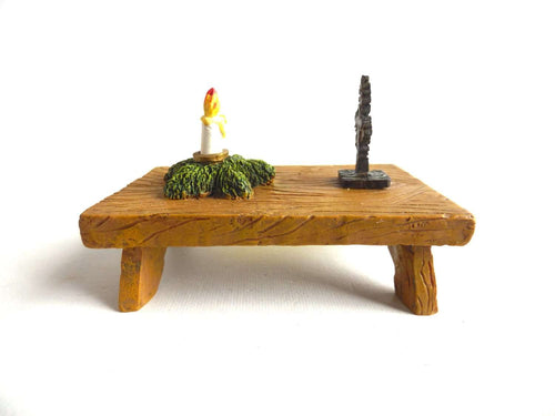 UpperDutch:Gnomes,Small gnomes table with decoration, Klaus Wickl 1995, Enesco, Rien Poortvliet, Miniature collectibles.