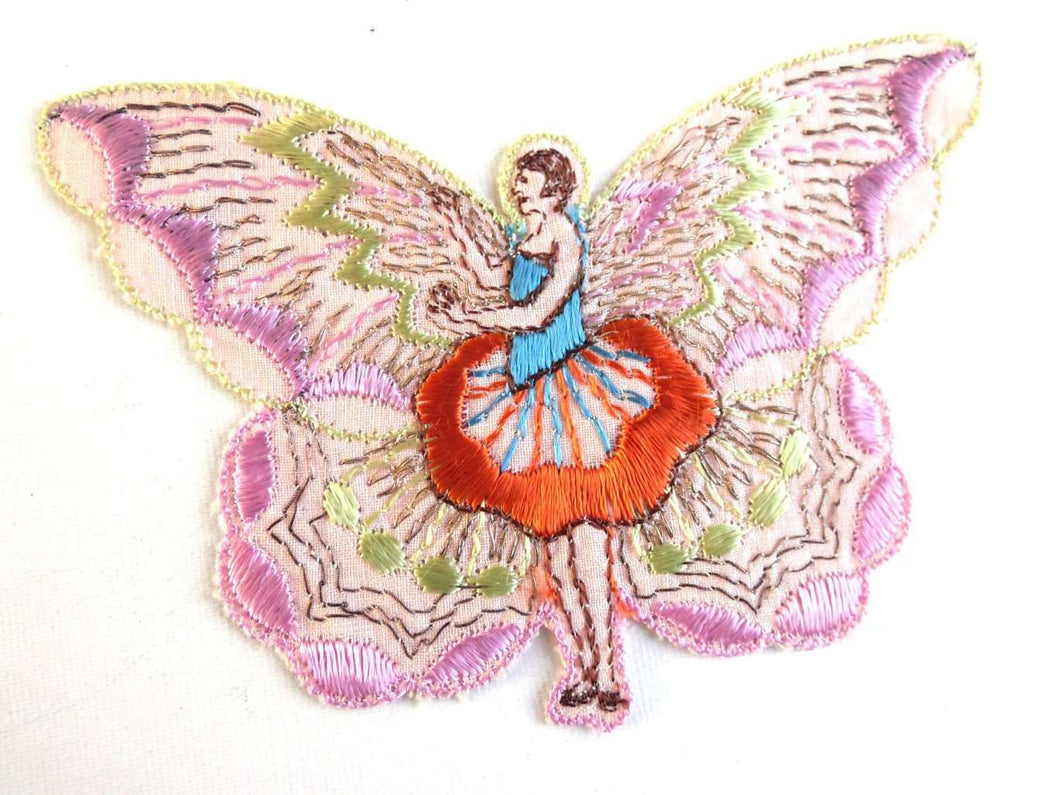 UpperDutch:Sewing Supplies,Applique, fairy, butterfly applique, 1930s vintage embroidered applique. Vintage patch, sewing supply, crazy quilt, antique.