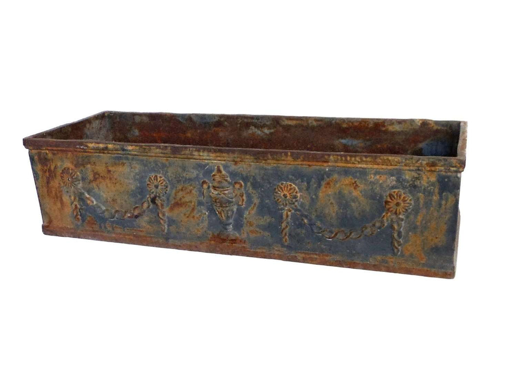 UpperDutch:Planter,One 1 Antique French cast iron planter, architectural yard art. European Romantic rusty garden decor, gardening gift.