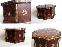 UpperDutch:Home and Decor,Tea Caddy, Antique wooden box, octagon shaped casket with brass ornaments, four compartments separated by a divider.